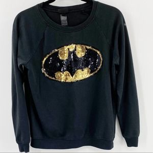 DC Sequin Batman Sweatshirt Black Gold Crewneck